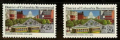 "2561 - 29c Color Shift Error / EFO ""District of Columbia Bicentennial"" MINT NH"