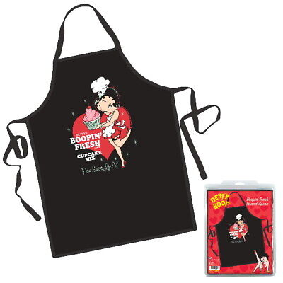 Betty Boop Animation Art Boopin' Fresh Brand Black Polyester Apron, NEW SEALED