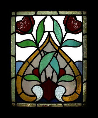 Beautiful Rare Art Nouveau Roses Antique English Stained Glass Window