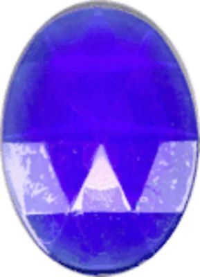 Glass Jewel, Oval, Faceted, 25mm x 18mm, Dark Blue