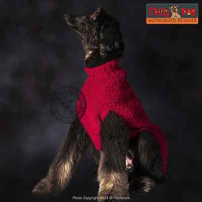 Dog Sweater CHILLY DOG Ruby Red Cable Knit Organic Wool XXS XS M XL