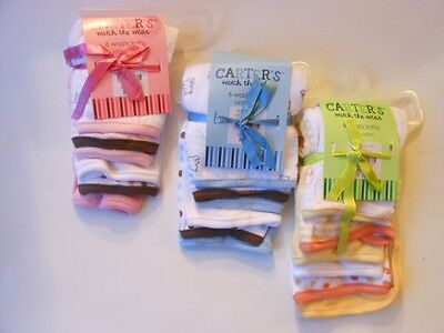 Carter's Watch The Wear Baby Washcloths 6 Pack Assorted Patterns Nip
