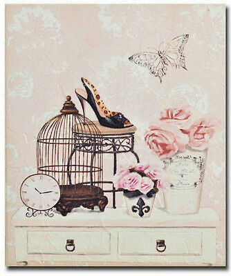 Wooden Shabby Pink  French Provincial Vintage Shoe & Bird Cage Print Wall Art