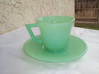 Green Platonite Child Cup And Saucer by Hazel Atlas