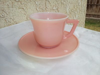Pink Platonite Child Cup And Saucer by Hazel Atlas