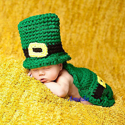 St Patricks Day Newborn Hat+Body Cover Green Knitted Costume Crochet Photo Prop
