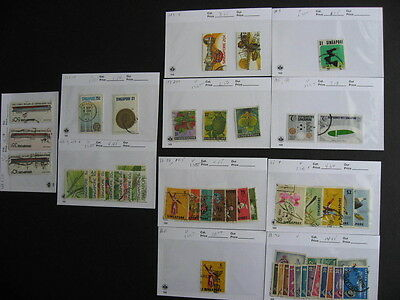 Sales Card/Glassine hoard breakdown SINGAPORE stamps all different,unverified