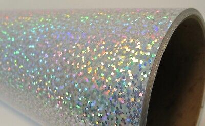 Silver Sequins Holographic Glitter Sign Vinyl 24 inch x 10 feet, Sparkle