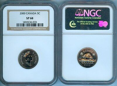 2000 Canada  Five Cents Ngc Sp68 Second Finest Graded