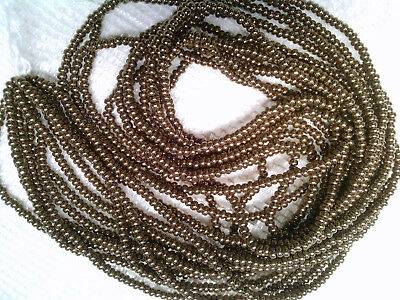 VTG 6 strands MELLOW BRASS GLASS ROUND SEED BEADS 11/0 #071418n
