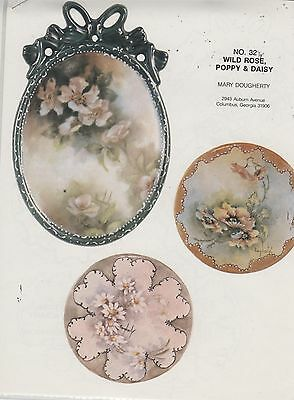 Wild Rose, Poppy & Daisy China Painting Study by Mary Dougherty 1983