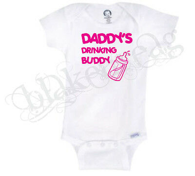 DADDY'S DRINKING BUDDY GIRL  Gerber® Onesie® Baby T-SHIRT BABY SHOWER CUTE FUNNY