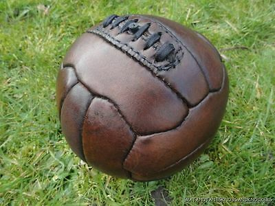 SUPERB QUALITY ANTIQUE STYLE BROWN LEATHER MINI FOOTBALL VINTAGE BALL