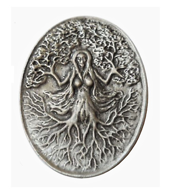 The Green Woman Pagan Pewter Brooch Pin Badge