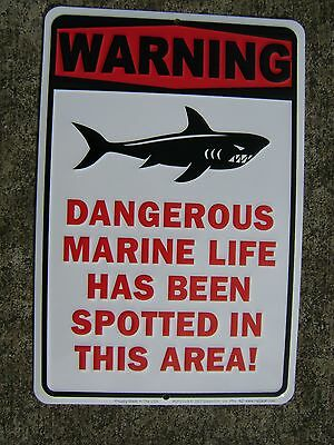 Sharks Feeding Aluminum Stamped Sign Nautical Maritime Beach Decor