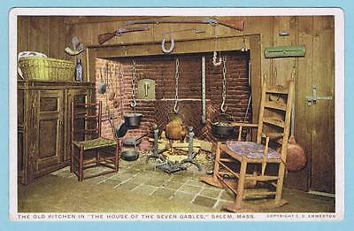 Unused Phostint Postcard - Kitchen In House Of The Seven Gables, Salem, Mass.