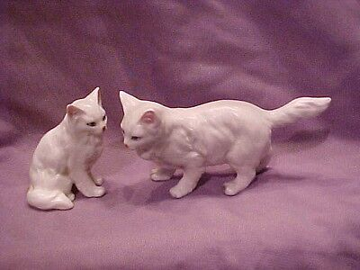 2 Bone China Persian Cat Cats Hand Painted Blue Eyes & Pink Noses! Mint! 1959
