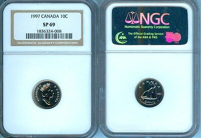 1997 Canada 10 Cents Ngc Sp-69 Finest Graded