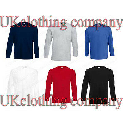 Adult Fruit of the Loom Long Sleeve Cotton t-shirt - mens tops s m l xl 2xl
