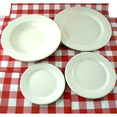 24 Pc Set Of Smooth Melamine Restaurant Bowls, Salad, Dessert, & Dinner Plates