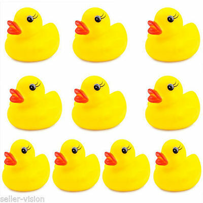 10 Mini Yellow Bathtime Rubber Duck Bath Toy Squeaky Water Play Fun Kids Toddler
