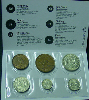 1959 Australian Pre Decimal Coin Set in folder, nice gift!