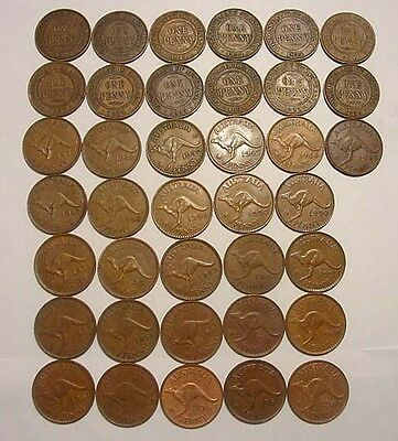Australian Pennies - 38 different dates/mintmarks. 1916 to 1964