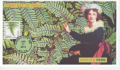 Jvc Cachets - 2014 Ferns Painted Fern  Issue First Day Cover Fdc Plant Topical