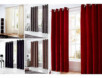 Majestic Velvet Curtains - Modern Ready Made Fully Lined With Ring Top Eyelets