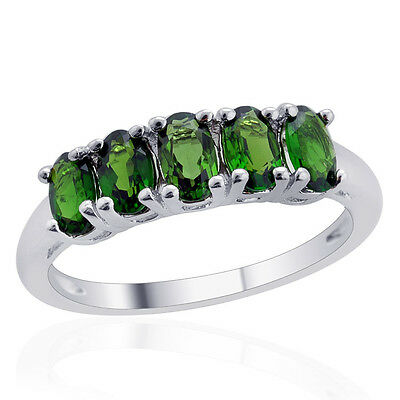 1.25 CWT ~ 5 Chrome Diopside Ring in Sterling Silver Size 8 ~ Natural Gemstone