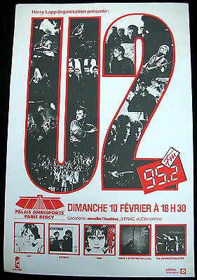U2 Palais Omnisports PARIS 1984 FRENCH ORG CONCERT POSTER Bono Edge Larry Adam