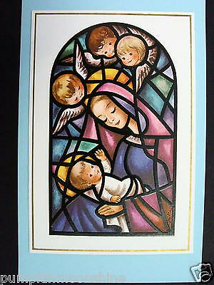 Unused Brownie Xmas Greeting Card by Steffie, Stain Glass Mother, Child & Angels