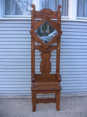 Antique Oak Hall Mirror Tree Bench with Coat Hat Rack Holder