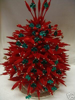 "Retro 19"" Soft Red Chenille Christmas Tree * Beaded*"