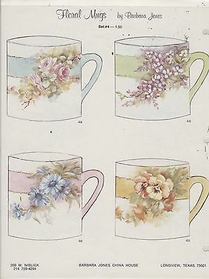 Floral Mugs Set #4 by Barbara Jones china painting study