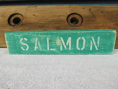 16 Inch Wood Hand Painted Salmon Sign Nautical Maritime Seafood (#s404)