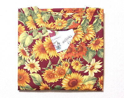 Sunflowers Maternity Scrub Top - S 100% Cotton Floral Multi-Color Women PGD