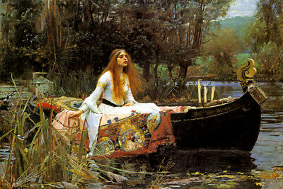 The Lady Of Shallot Doomed Rides In The Boat To Her Death By Waterhouse Repro