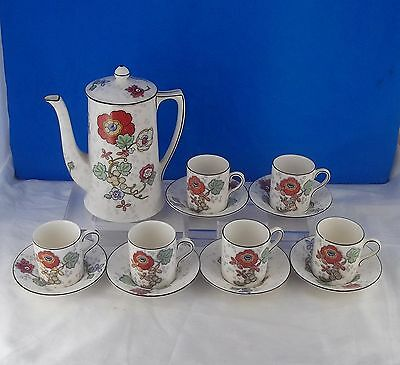 CROWN DUCAL BEAUMONT Expresso Coffee Pot & 6 Demitasse Cups & Saucers, Floral