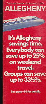 Allegheny Airlines Systemwide Timetable March 1 1974