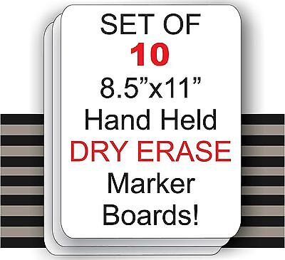 """Set Of 10  - 8.5"""" X 11"""" Student Laptop Dry Erase Marker Boards 100% Recycled"""