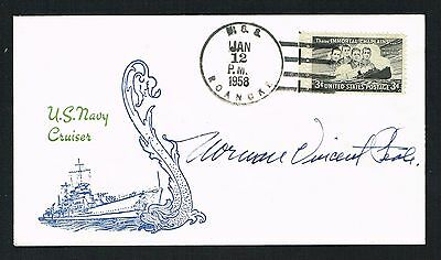 Norman Vincent Peale (d. 1993) signed autograph Postal Cover Minister and Author