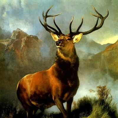 Monarch Of The Glen Bulky Stag Deer Wilderness Painting By Edwin Landseer Repro