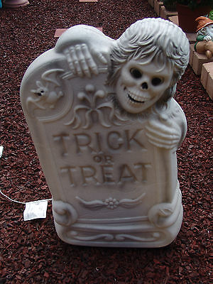 "Vintage Halloween Blowmold Grave Yard Tombstone Skelton 28""  Free Shipping"