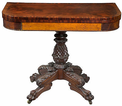 SWC-Classical Carved Mahogany and Satinwood Pineapple Card Table, c.1820