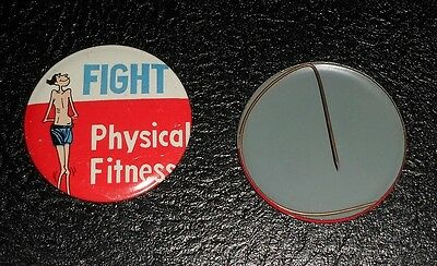 Vintage 60s 70s Pin Pinback Button - FIGHT PHYSICAL FITNESS Retro Beatnik Mad