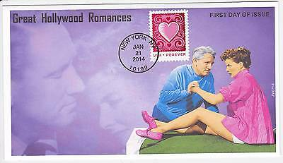 Jvc Cachets - 2014 Cut Paper Heart First Day Covers Fdc Hollywood Romances #1