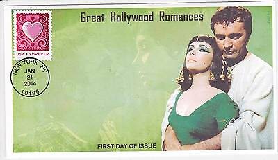 Jvc Cachets - 2014 Cut Paper Heart First Day Covers Fdc Hollywood Romances #3