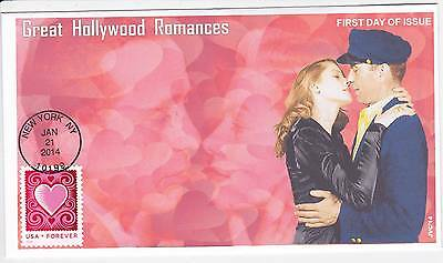 Jvc Cachets - 2014 Cut Paper Heart First Day Covers Fdc Hollywood Romances #2