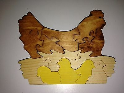Wooden Hen with Baby Chicks Puzzle - Handmade - 13 Pieces - Stained